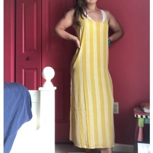 Yellow stripped maxi dress